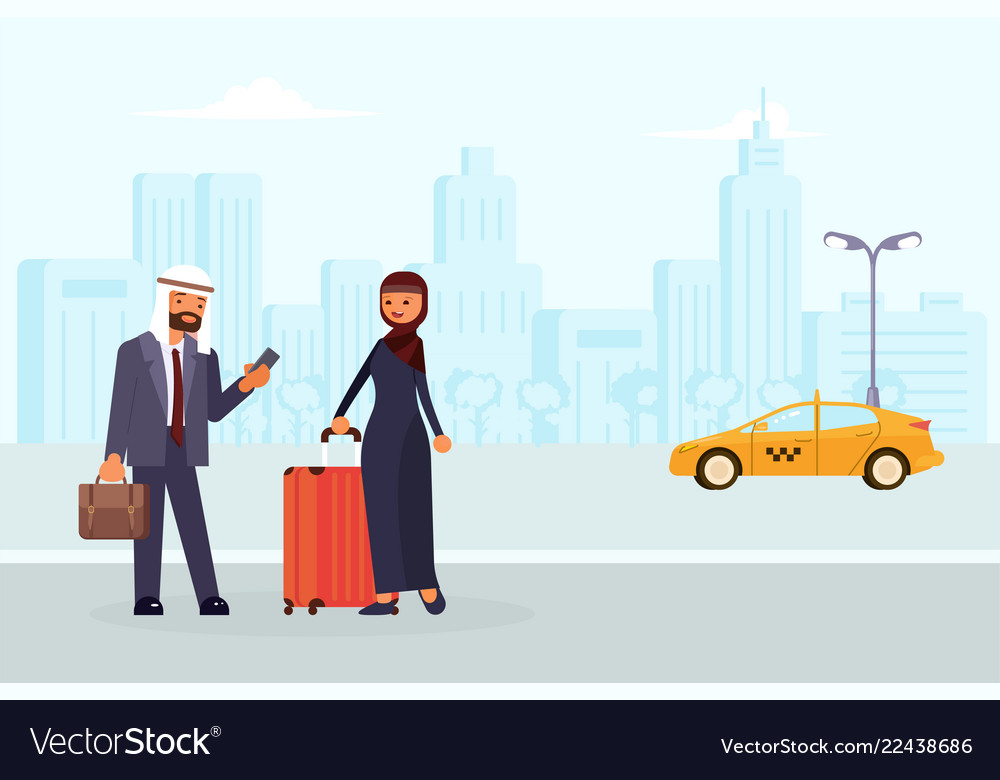 Arab family characters order a yellow taxi