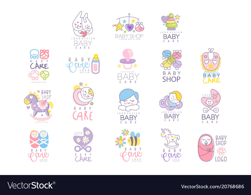 Baby care set for logo design hand drawn