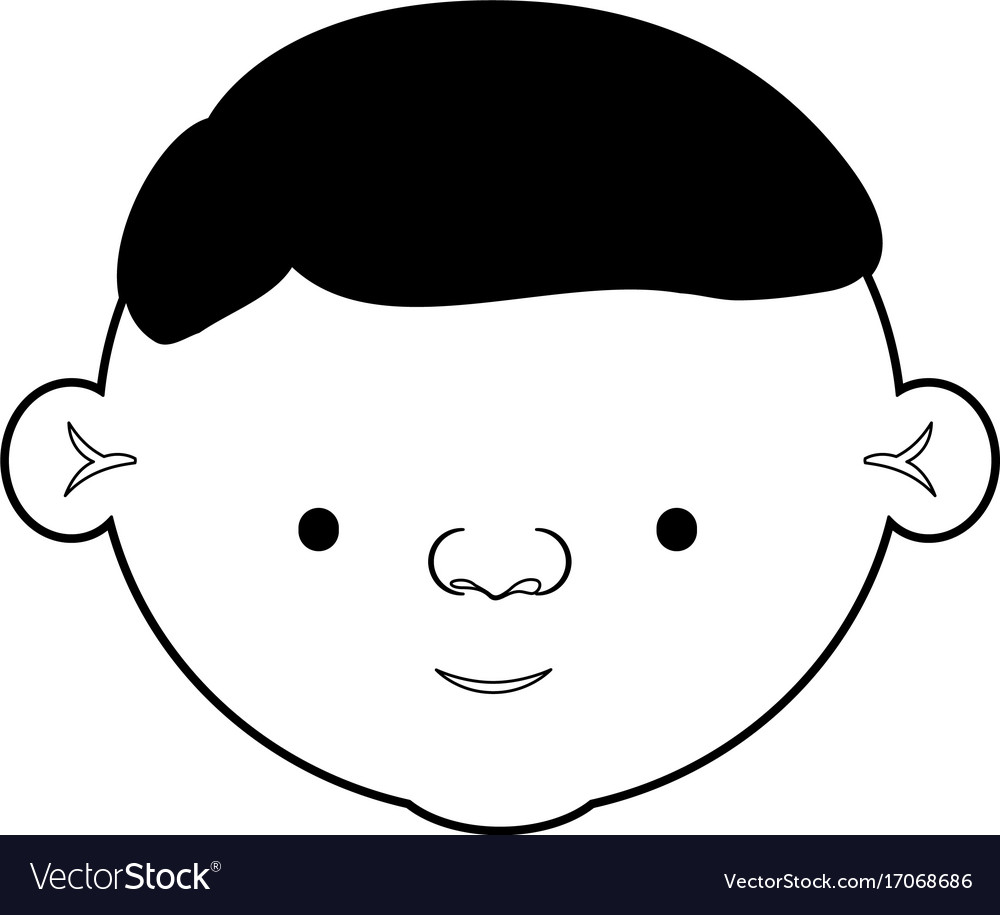Caricature Face Elderly Man With Hairstyle In Vector Image