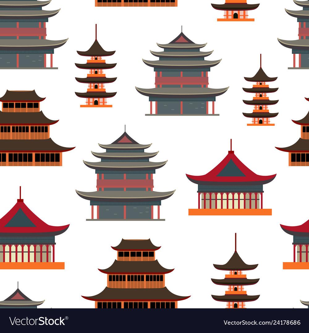 Cartoon traditional asian house seamless pattern