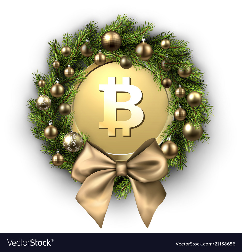 Gold Christmas Wreath.Christmas Wreath With Bow And Gold Bitcoin