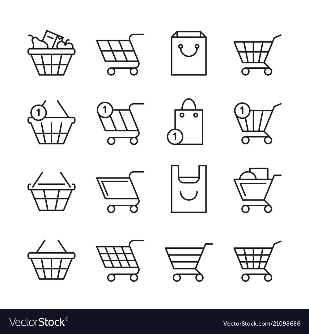 Empty online shopping baskets market box line web