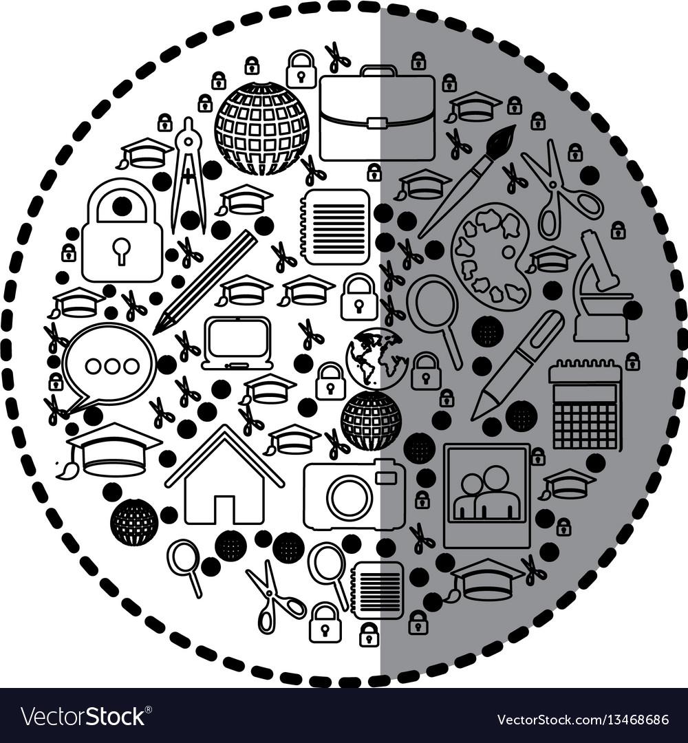Figure social tools inside big bubble icon vector image