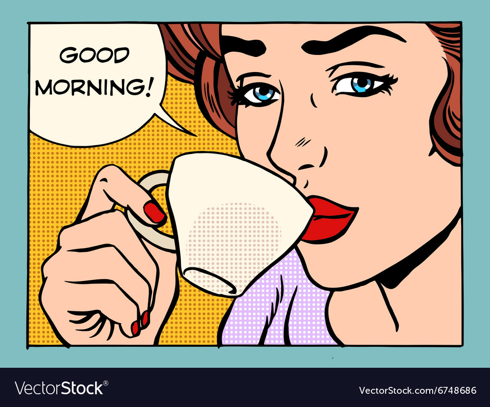 Good morning girl with Cup of coffee vector image