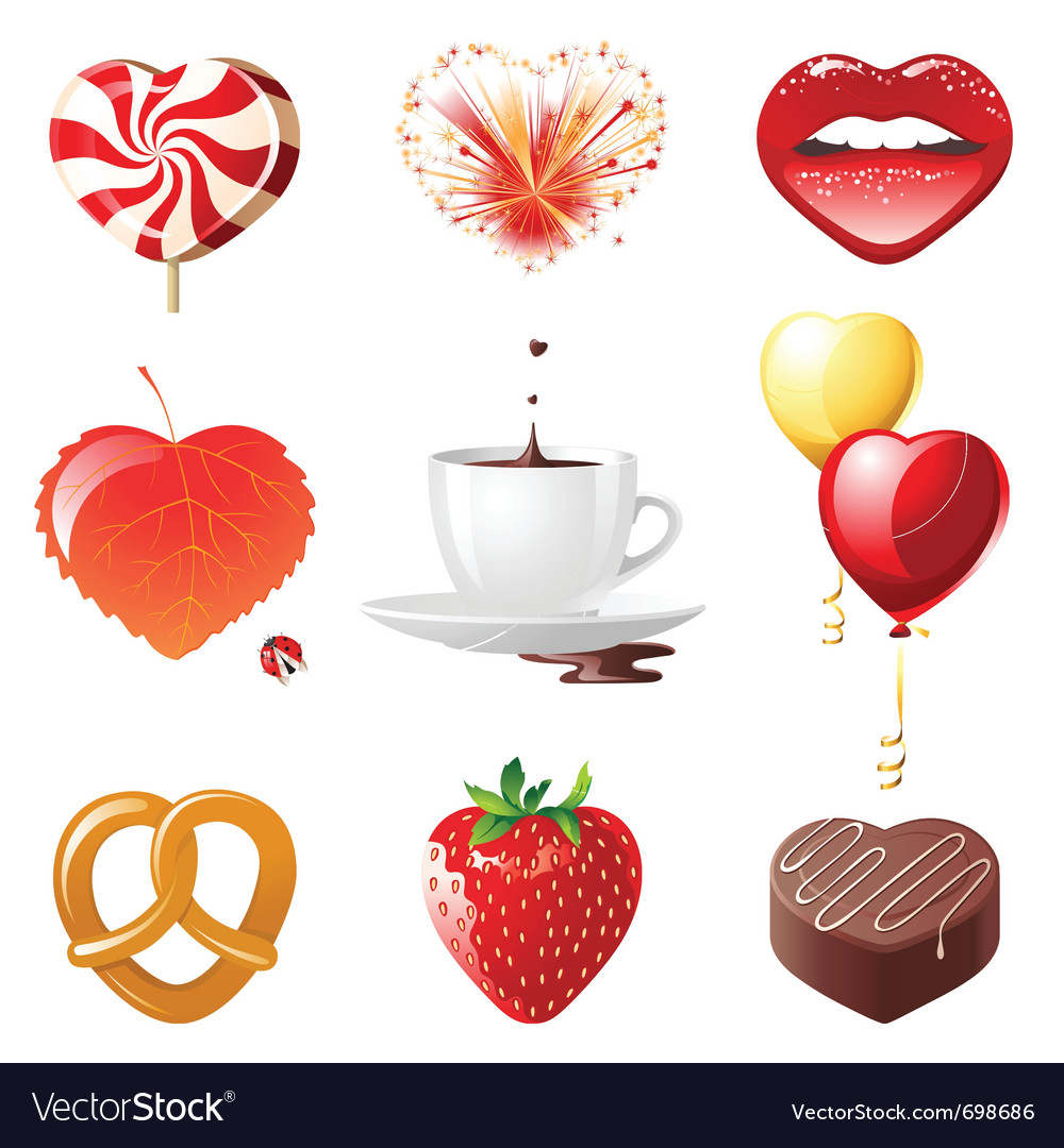 Set of 9 concept hearts vector image