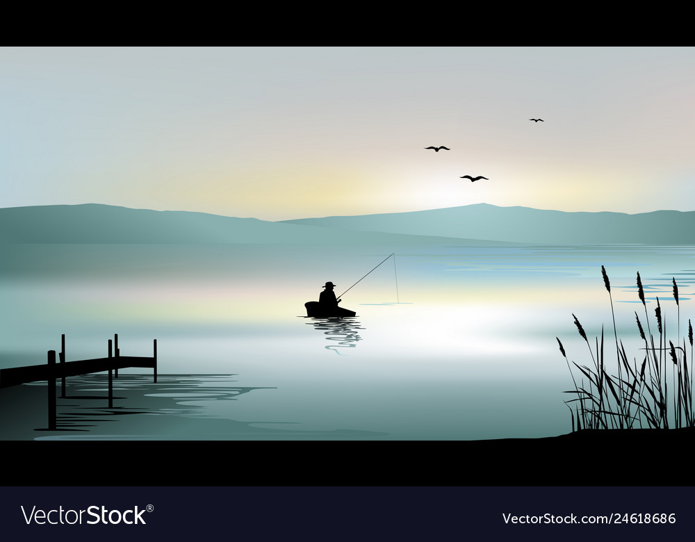 Sunrise on the lake and a fisherman boat