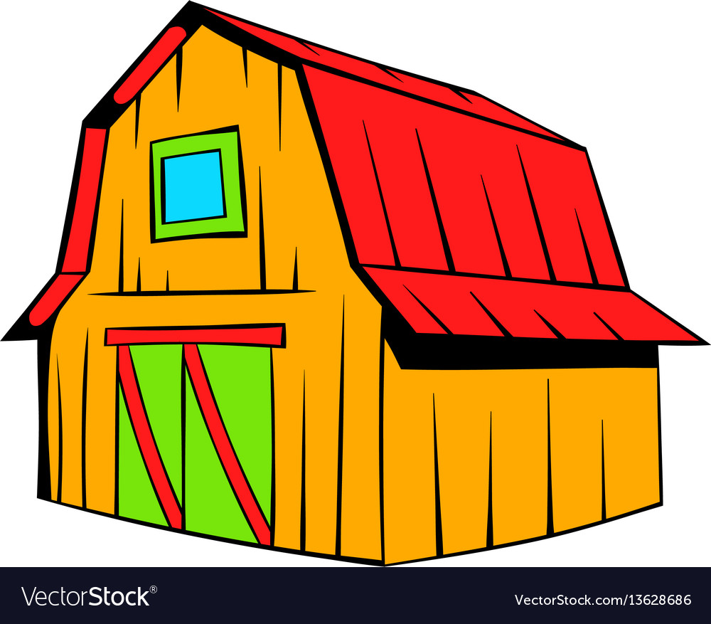 wooden barn icon cartoon royalty free vector image
