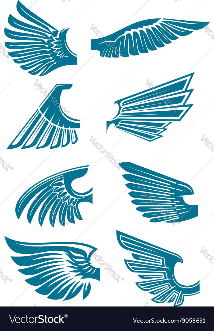 Blue open wings symbols for tattoo design vector image