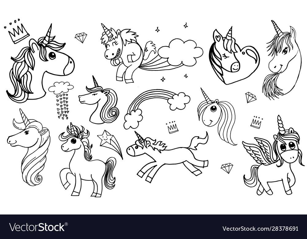 Doodle style hand drawn unicorn set isolated