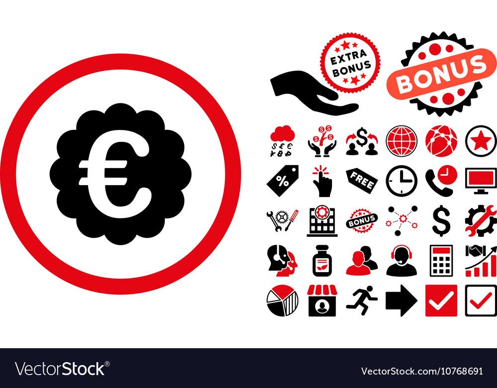 Euro Quality Seal Flat Icon with Bonus