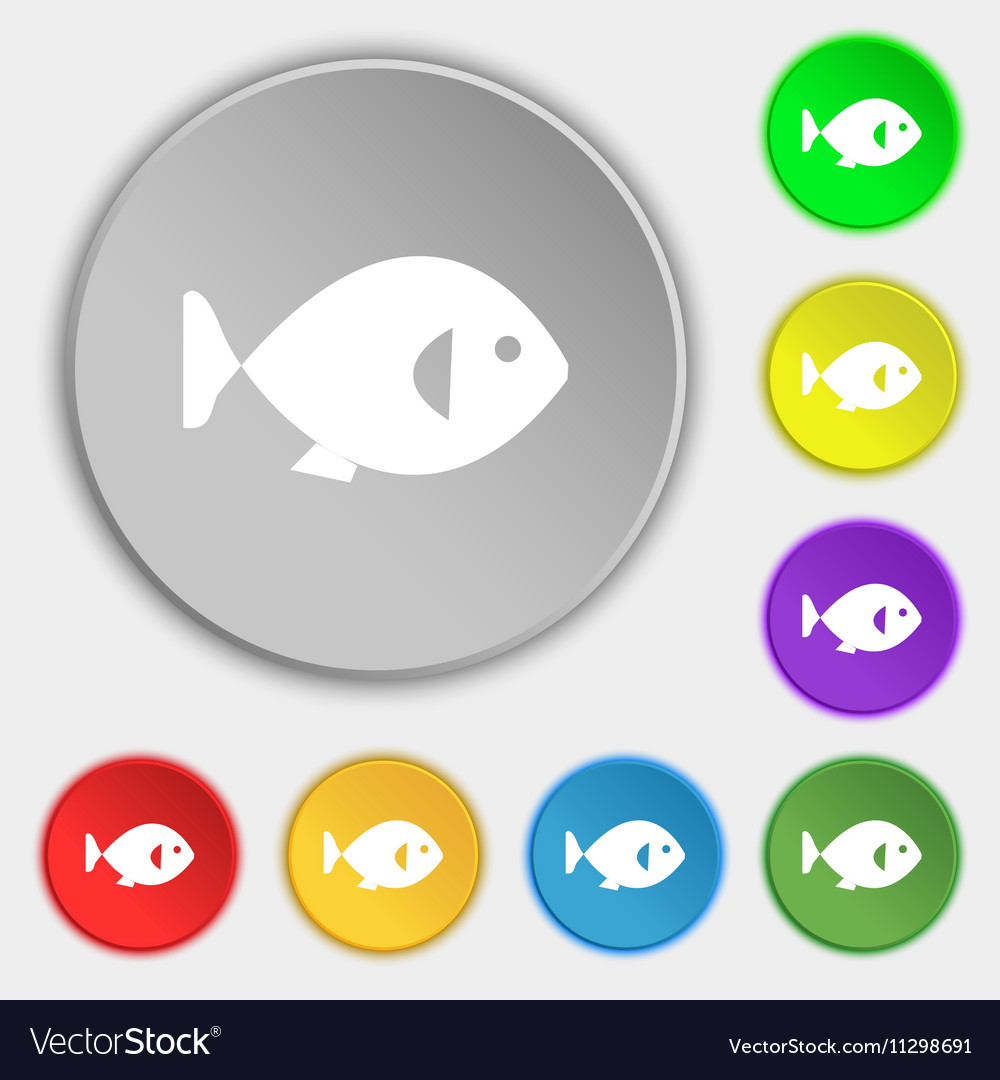 Fish icon sign Symbol on eight flat buttons