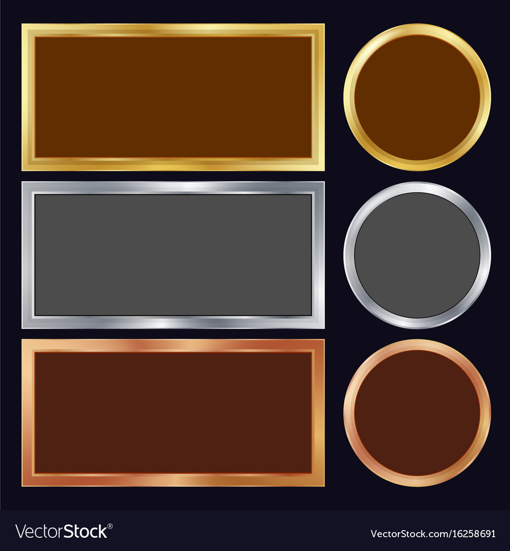 feba1da6b00 Gold silver bronze copper metal frames Royalty Free Vector