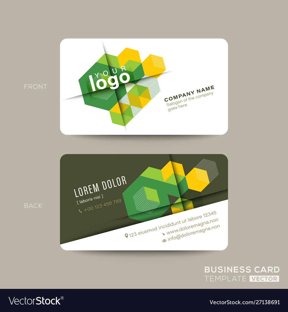 Green business card design with isometric cube