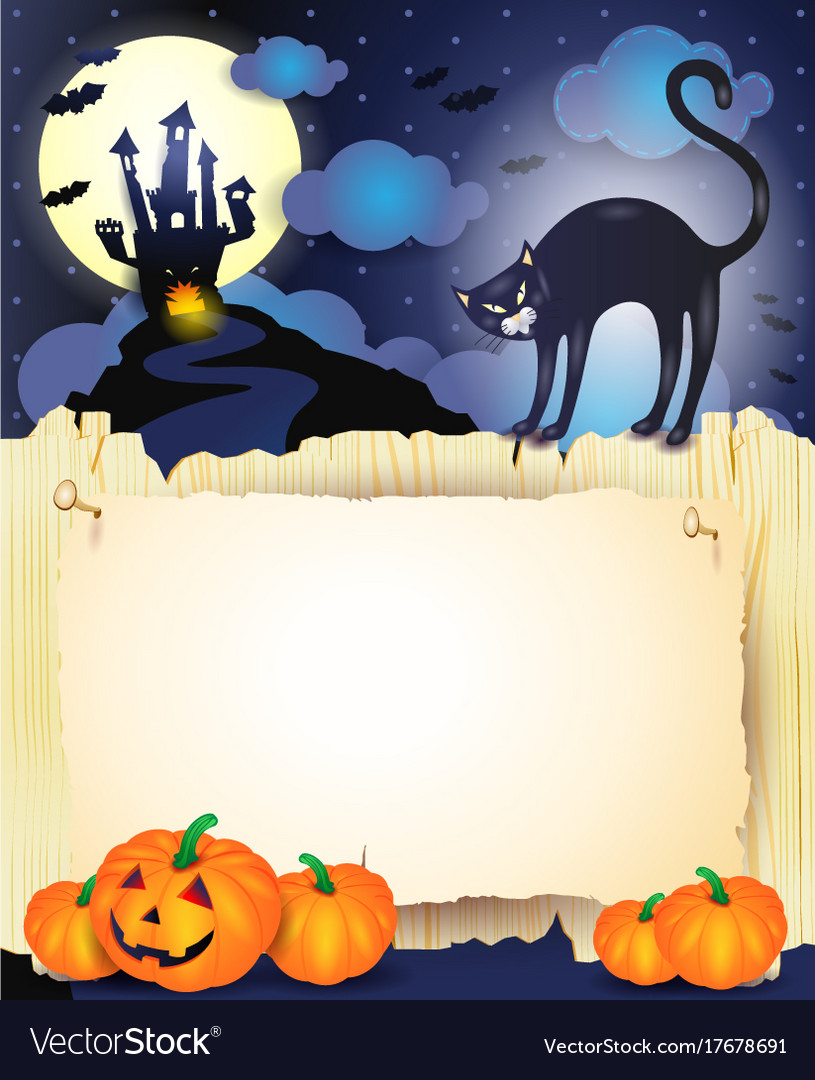 Halloween background with black cat pumpkins and vector image