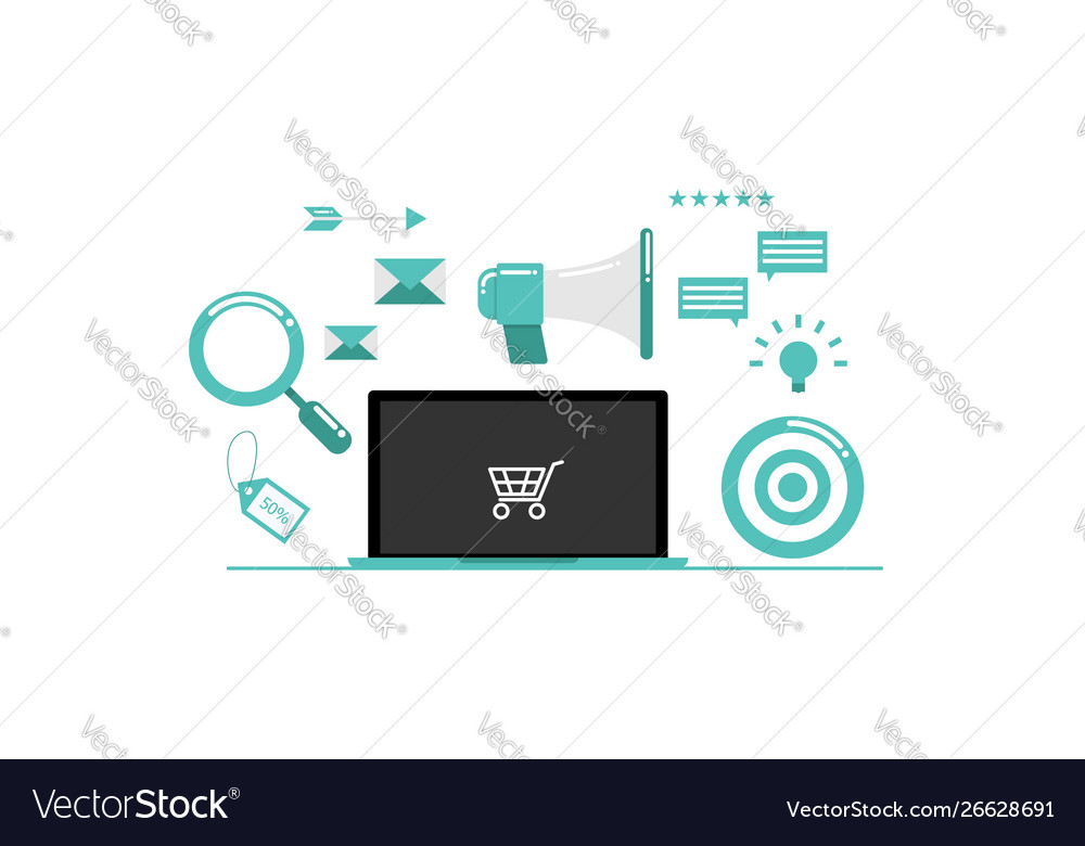 Online marketing with laptop