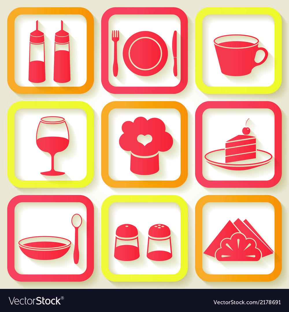 Set of 9 retro icons of kitchen utensils vector image