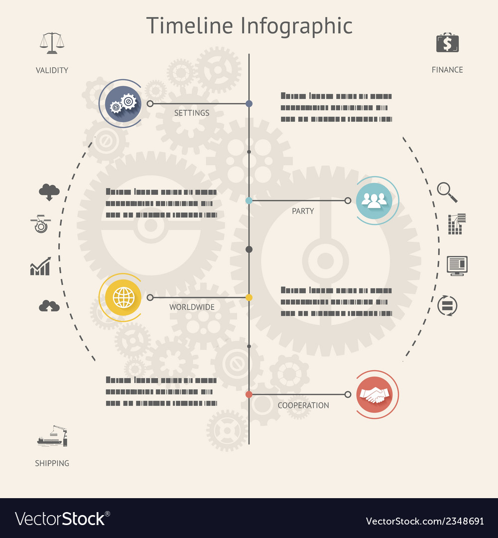 Timeline Infographics Elements Symbols and Icons vector image