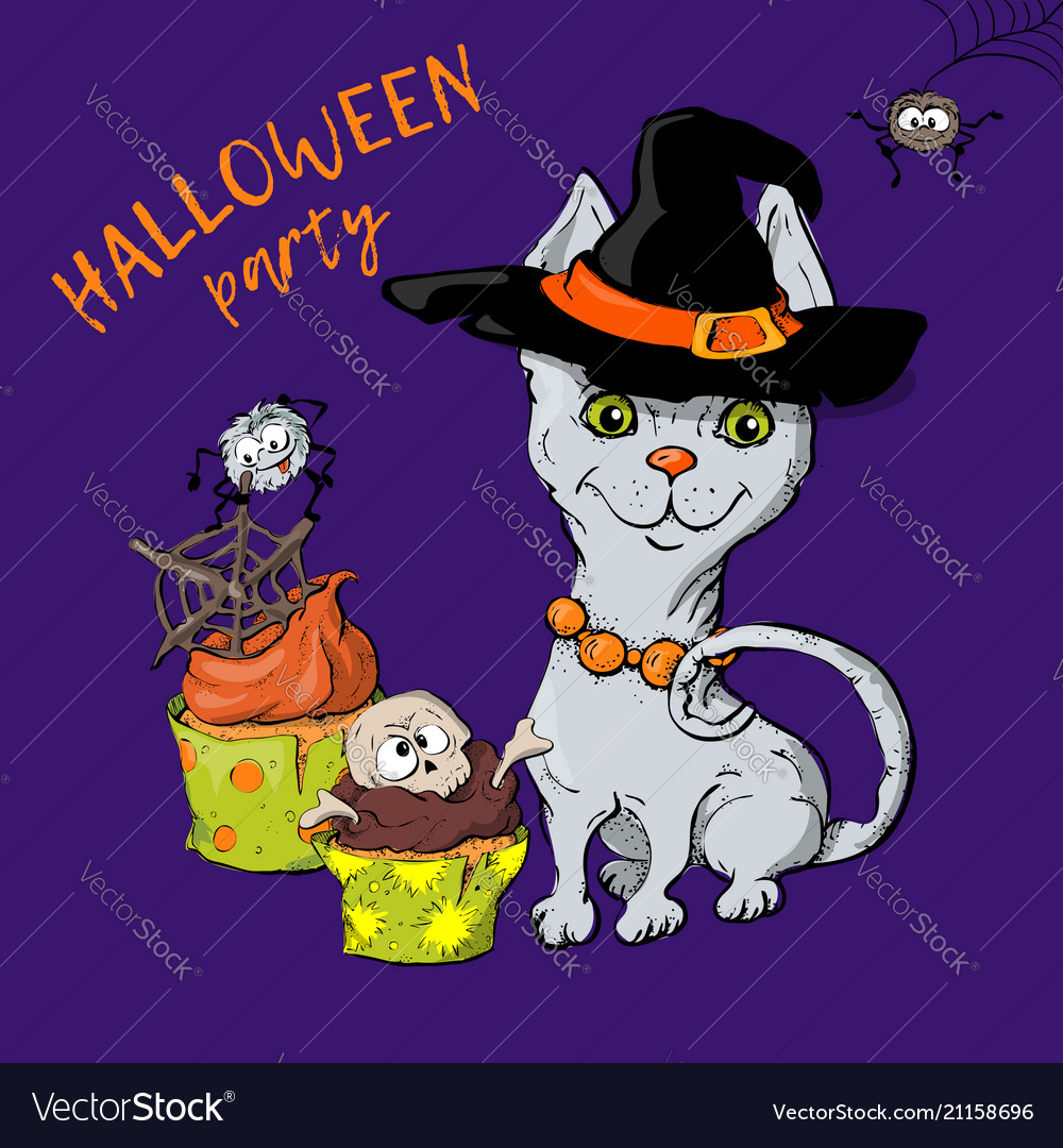 Cartoon cute cat character in a witch s hat with a