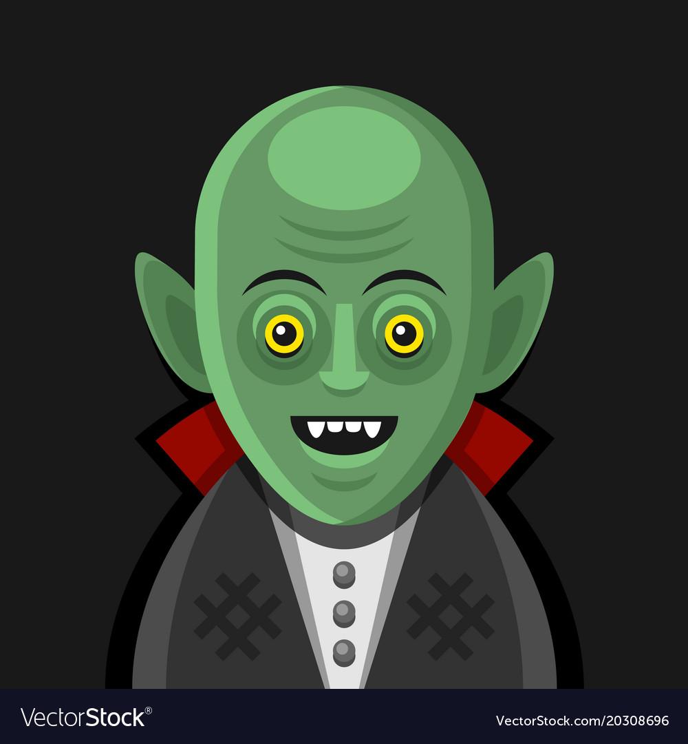 Cute cartoon green vampire on derk background