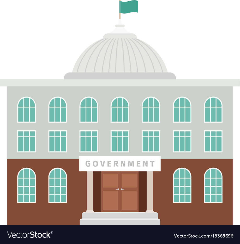Government building with dome and flag