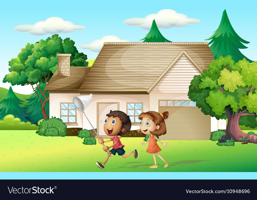 Kids catching butterfly in garden vector image