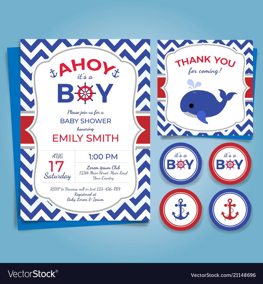 Nautical Theme Baby Shower Invitation Birthday Pa Vector Image