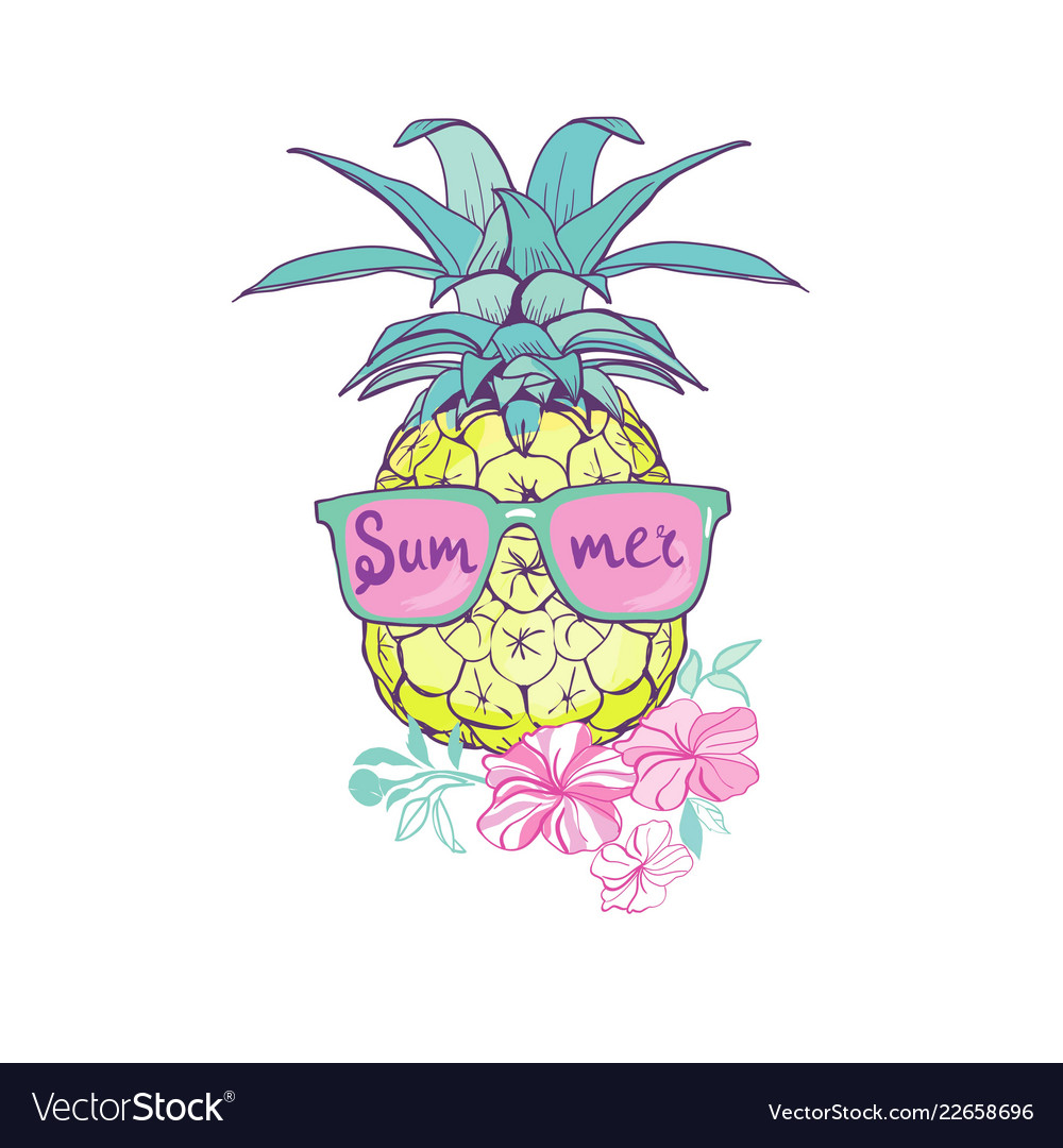 Pineapple with glasses design exotic background