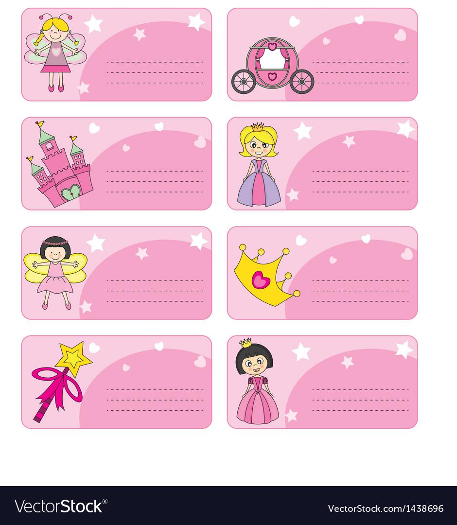 Princess labels vector image