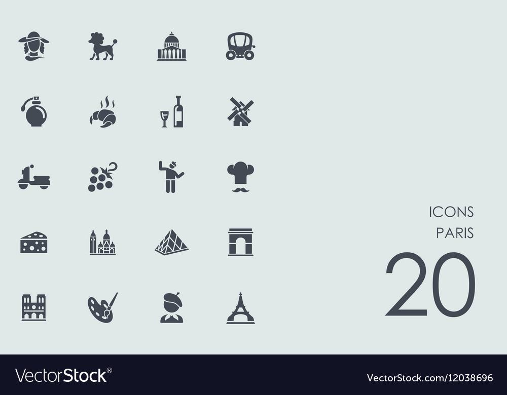 Set of Paris icons vector image