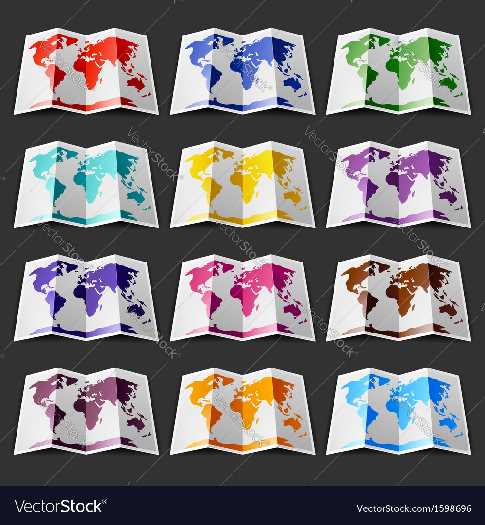 Set of twelve colored maps of the World on