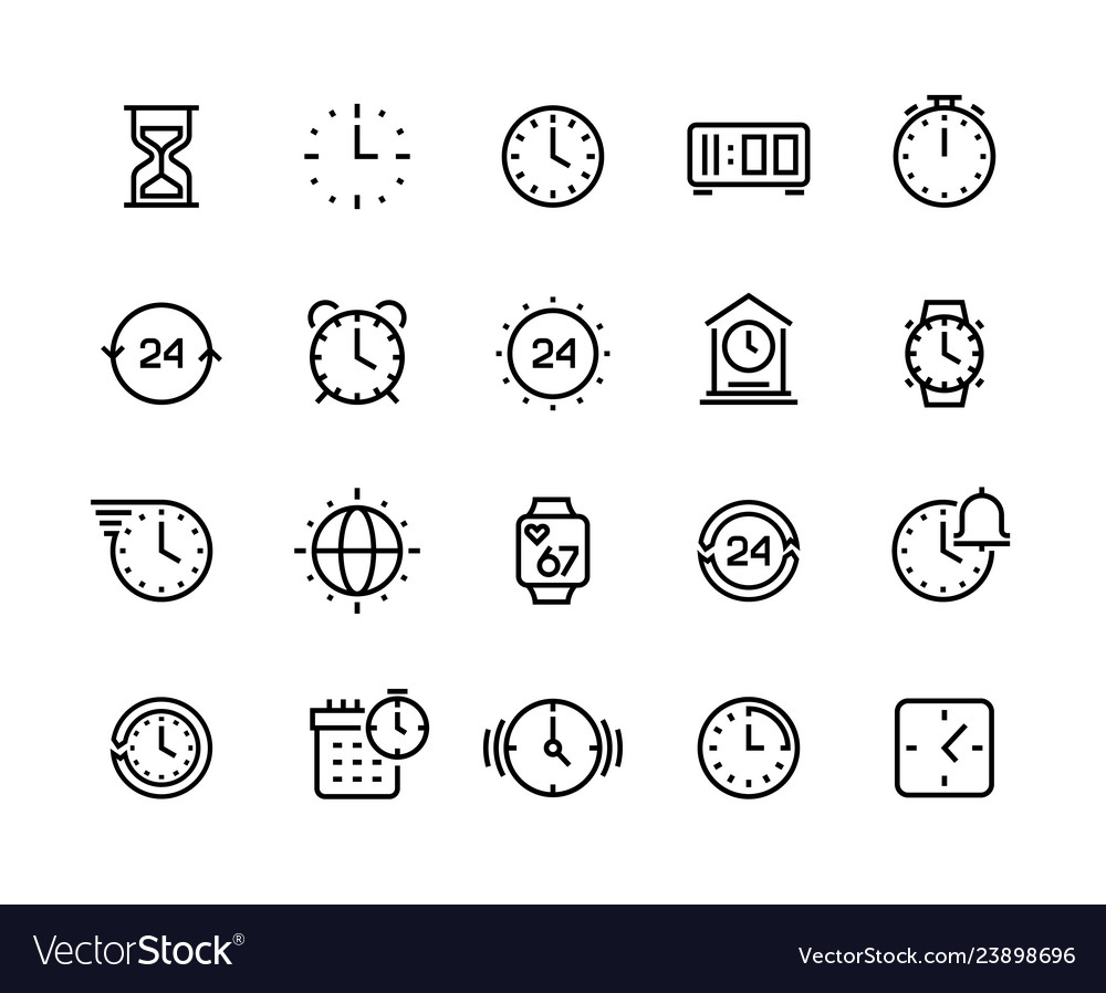 Time line icons clock calendar timer watch and