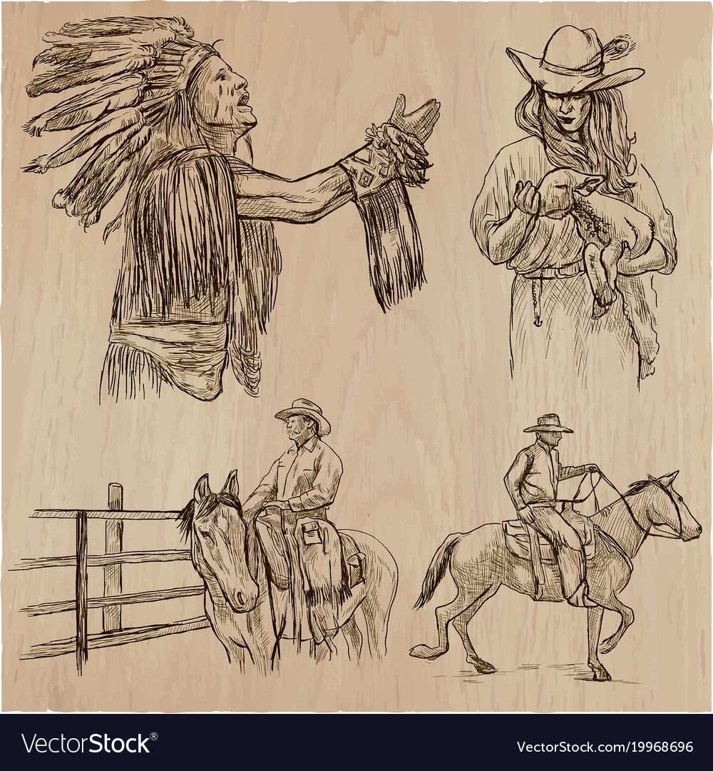 Wild west and native americans - an hand drawn