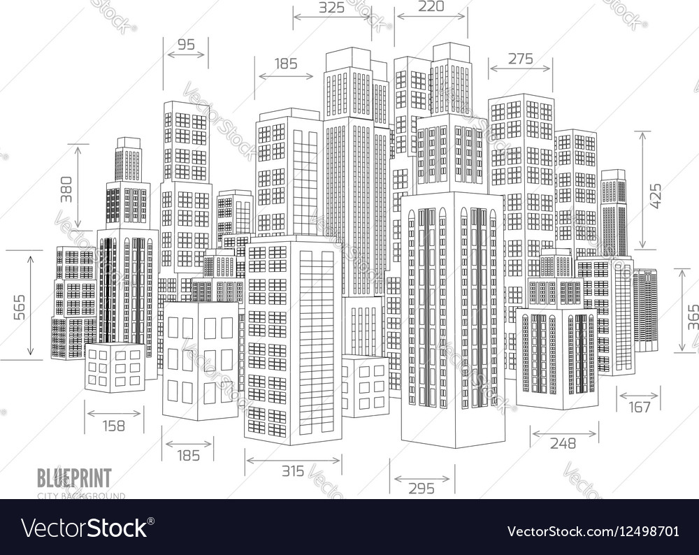 building wireframe 3d render city royalty free vector image