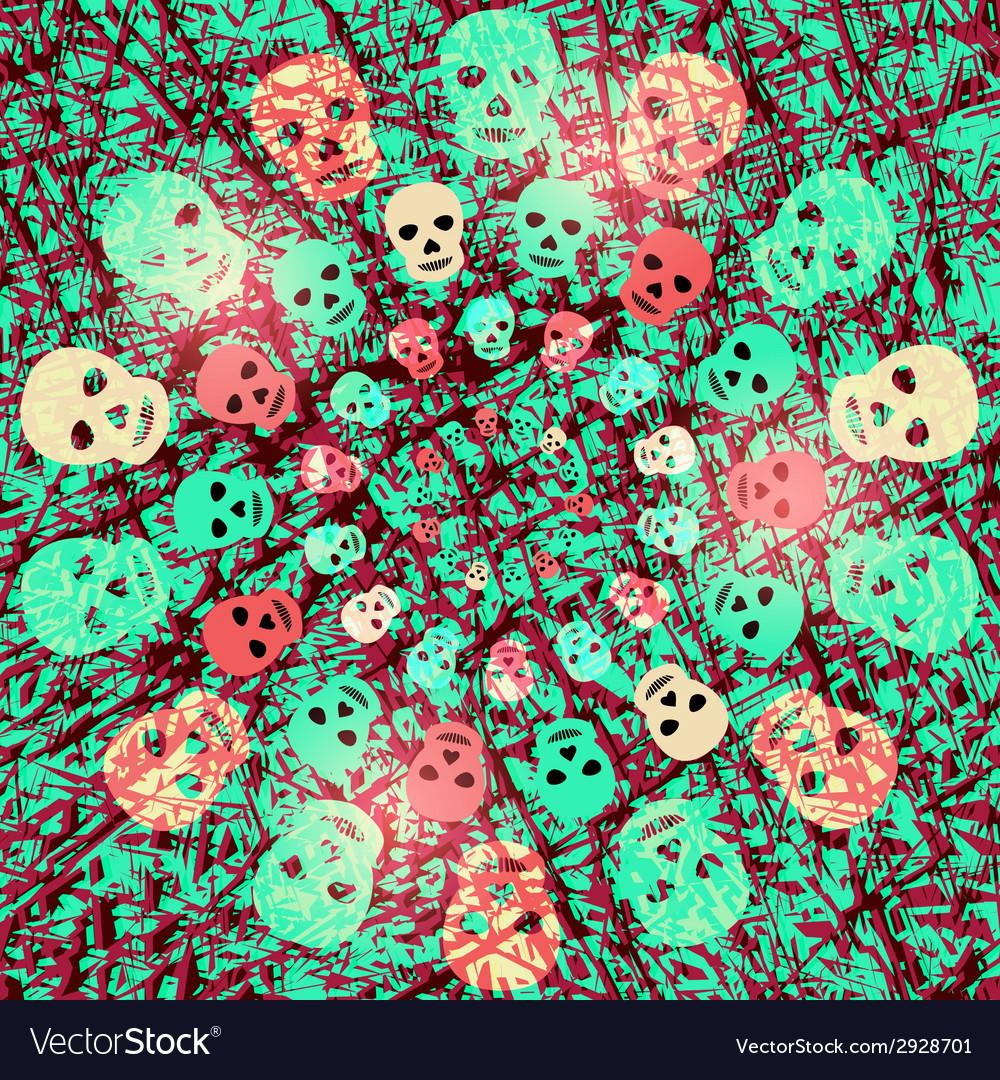 Creepy Halloween background with skulls