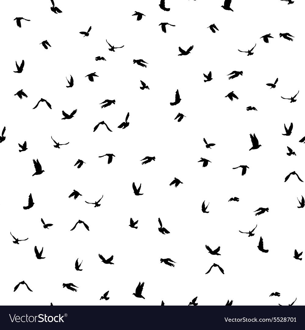 Doves and pigeons silhouette seamless pattern on