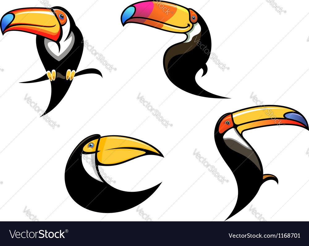 Funny toucan mascots and symbols vector image