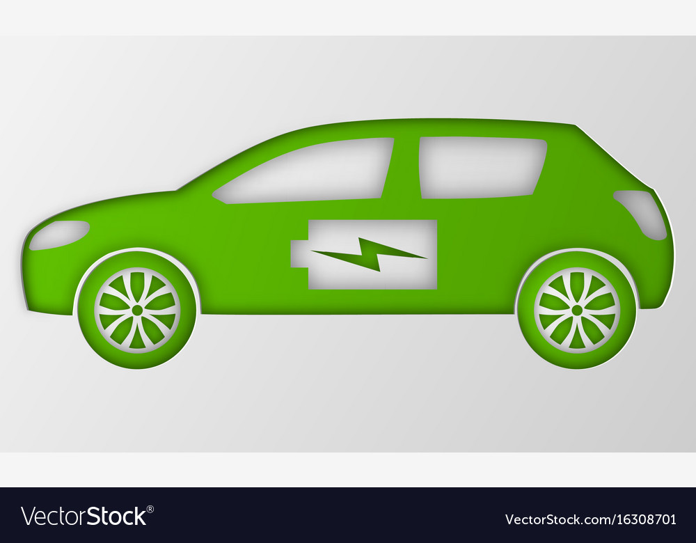 Green Hybrid Origami Car Paper Art Electric Vector Image