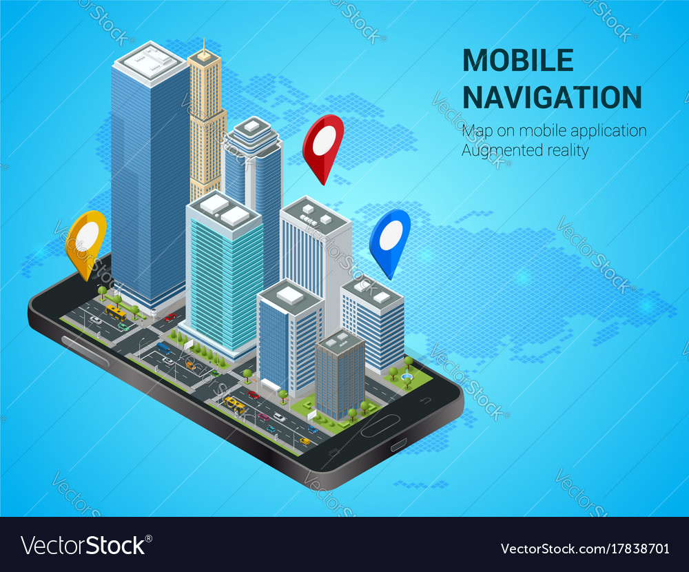 Isometric smart city or mobile navigation concept