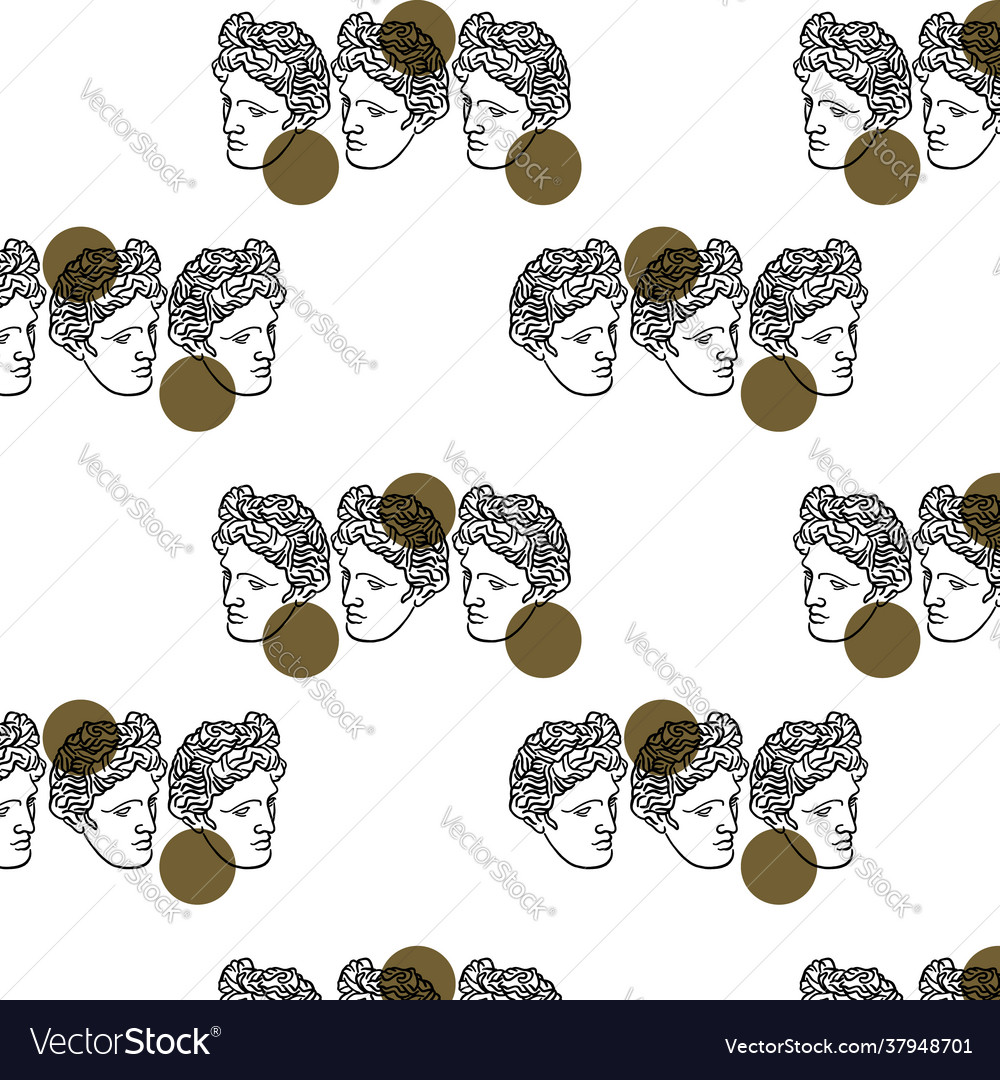 Pattern with hand drawn flat antique head