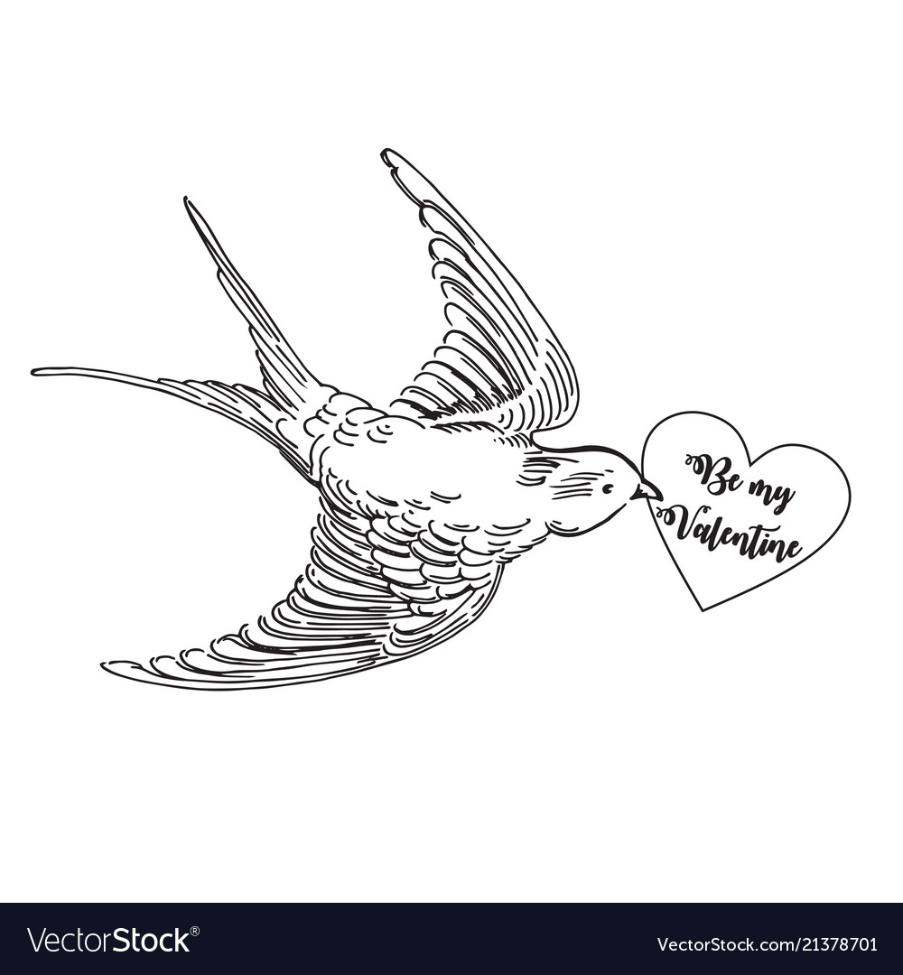 Realistic flying swallow with love card
