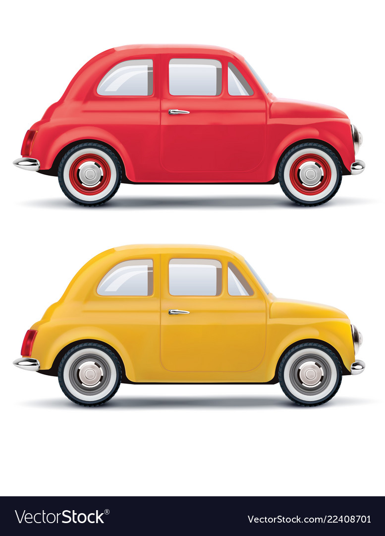 Red an yellow cars isolated on white 3d