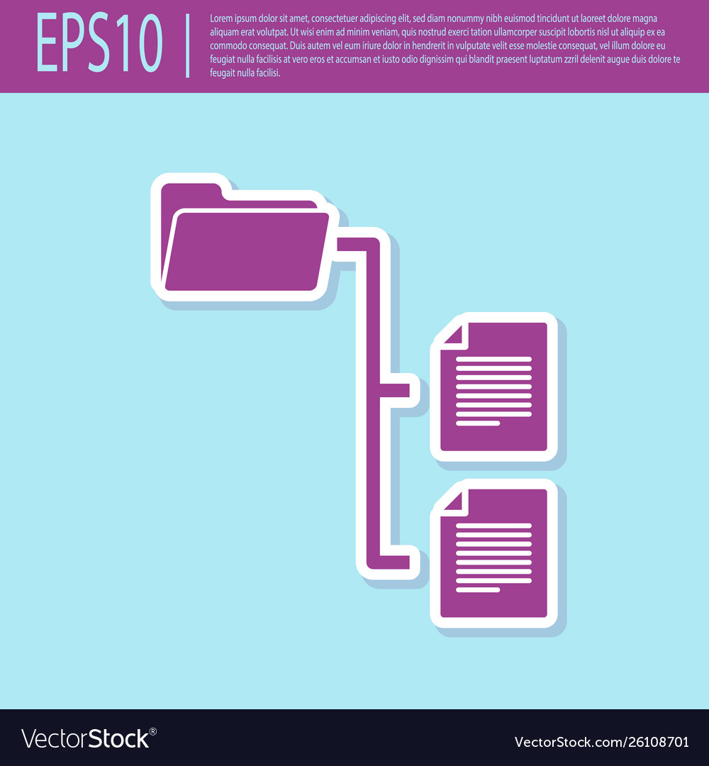Retro purple folder tree icon isolated on