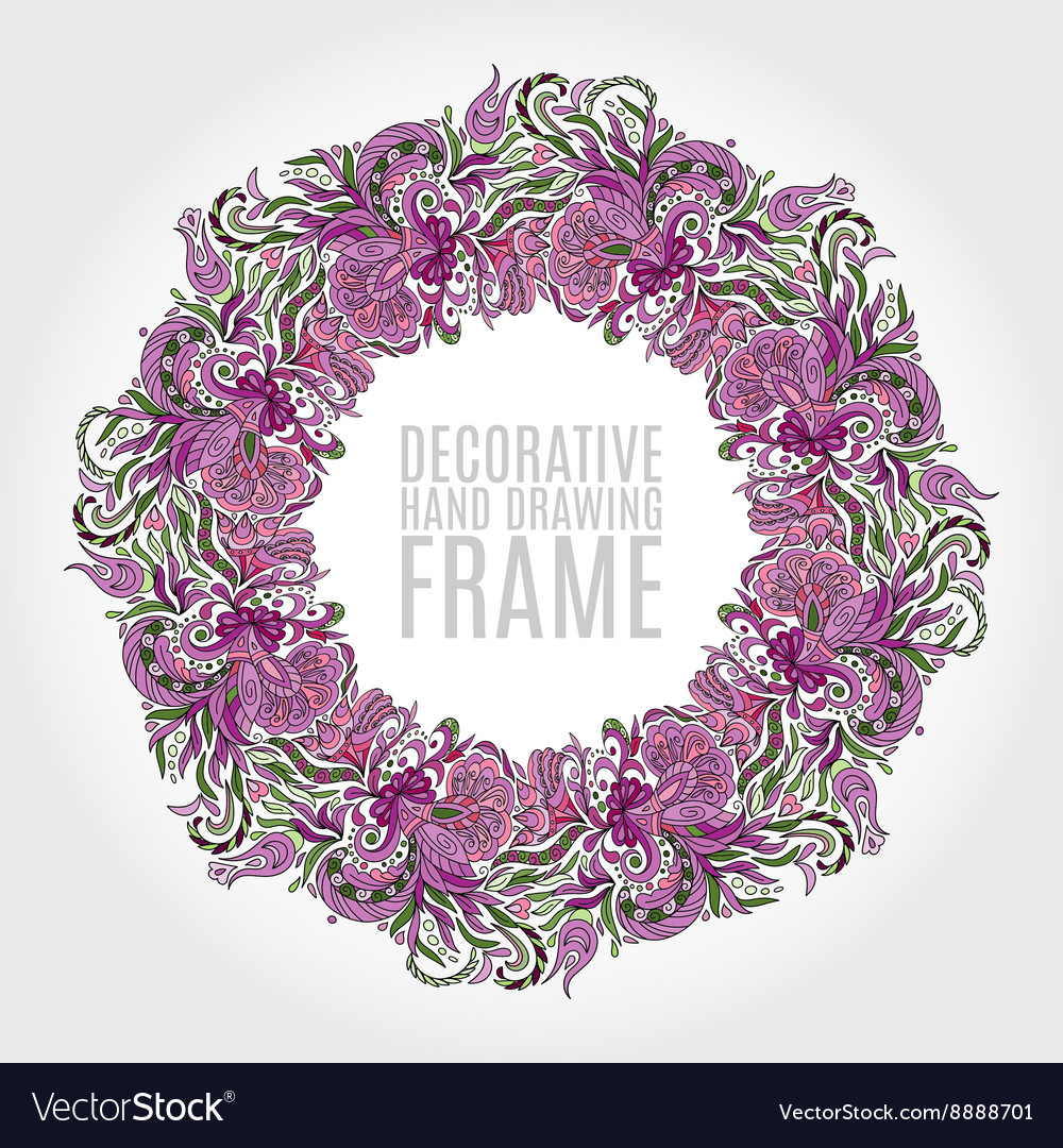 Round frame flowers and some floral elements