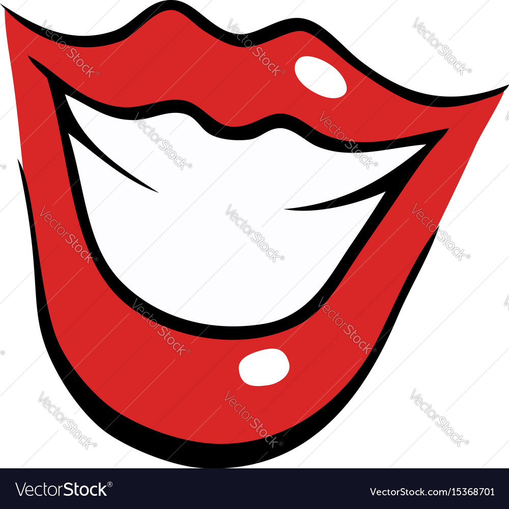 smiling female mouth with red lips royalty free vector image rh vectorstock com Lips Vector Lips Vector