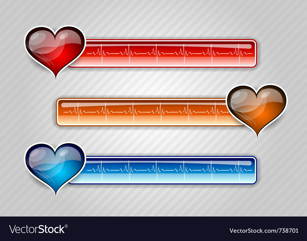 Three cardiogram buttons with hearts vector image
