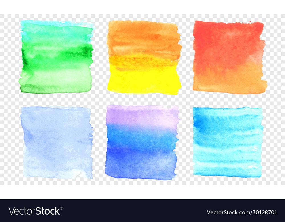 Watercolor banner set color square smear of