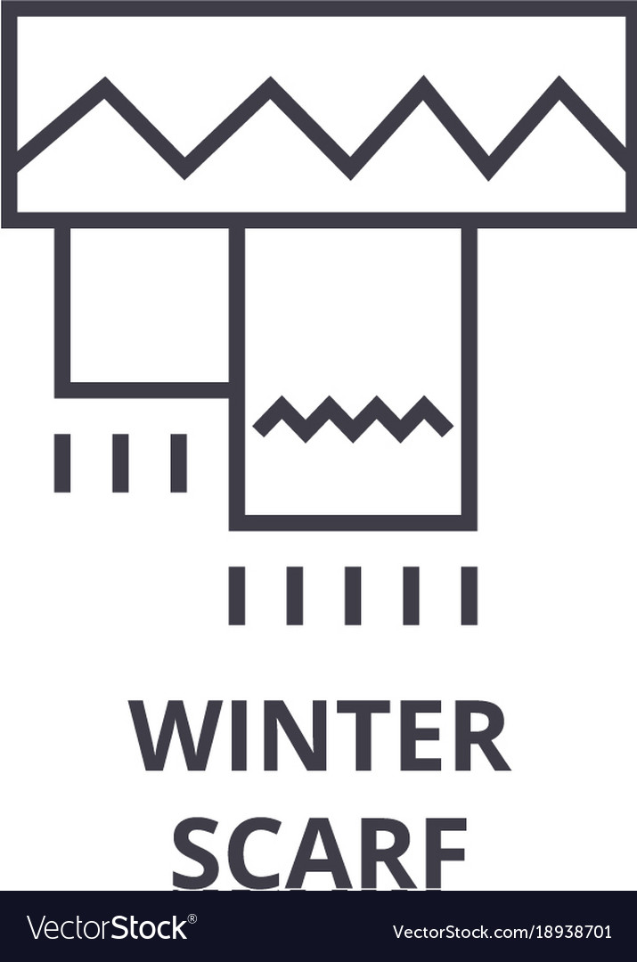 Winter scarf line icon outline sign linear