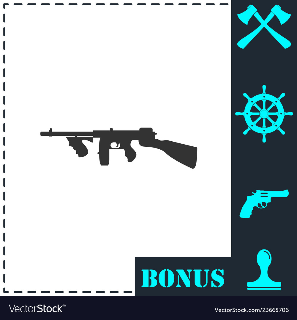 Automatic rifle icon flat