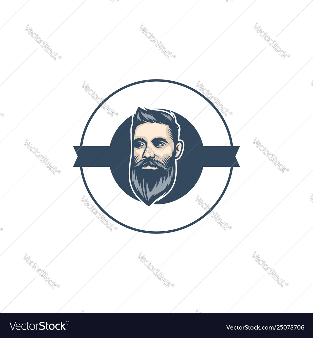 Beard man barbershop logo template