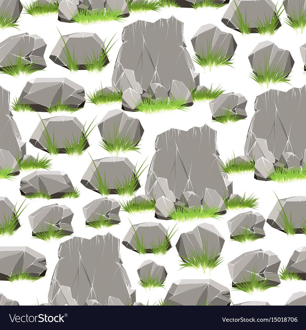 Cartoon stones with grass seamless pattern